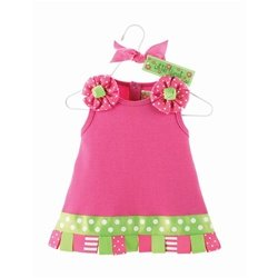 Mud Pie Baby Little Sprout Cotton Dress Embellished with Looped Ribbons, Hot Pink, 0 - 6 Months
