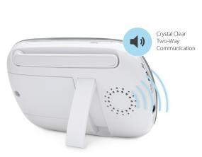 Enhanced two-way audio allows you to clearly speak or sing to your baby.
