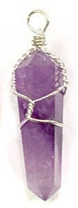 Silver Wire Wrapped Natural Amethyst Crystal Point