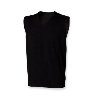 Henbury H724 Mens Sleeveless V Neck Jumper Black L