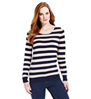 M&S Collection Pure Cashmere Striped Jumper