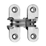 """SOSS Mortise Mount Invisible Hinges with 4 Holes, Zinc, Satin Chrome Finish, 1-3/4"""" Leaf Height, 1/2"""" Leaf Width, 23/32"""" Leaf Thickness, #6 x 1"""" Screw Size (1 Pair)"""