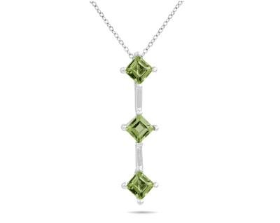 Three Peridot Drop Pendant in White Gold