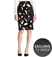 Autograph Leather Abstract Print Pencil Skirt