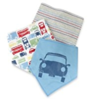 3 Pack Pure Cotton Car Design Dribble Bibs