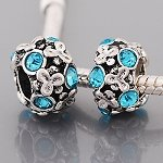 Light Blue Flowers Charm Bead