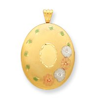 14k Gold Filled Tri-color 4-Frame Oval Locket - JewelryWeb