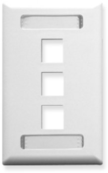 Faceplate, Id, 1-Gang, 3-Port, White Faceplate, Id, 1-Gang, 3-Port, White