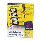 "Self-Adhesive Lamination Sheets, 9""x12"", 50/BX, Clear"