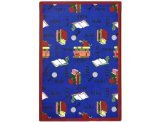 "Joy Carpets Kid Essentials Language & Literacy Bookworm Rug, Blue, 10'9"" x 13'2"""