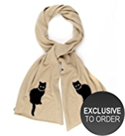 M&S Collection Pure Cashmere Cat Print Scarf MADE WITH SWAROVSKI® ELEMENTS