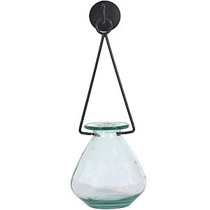 Decorative Drop Vase with Triangle Metal Hanger