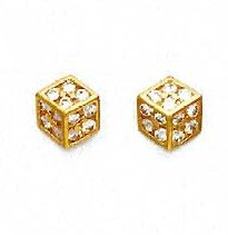 14ct Yellow Gold 1.5 mm Round CZ Medium Dice Earrings