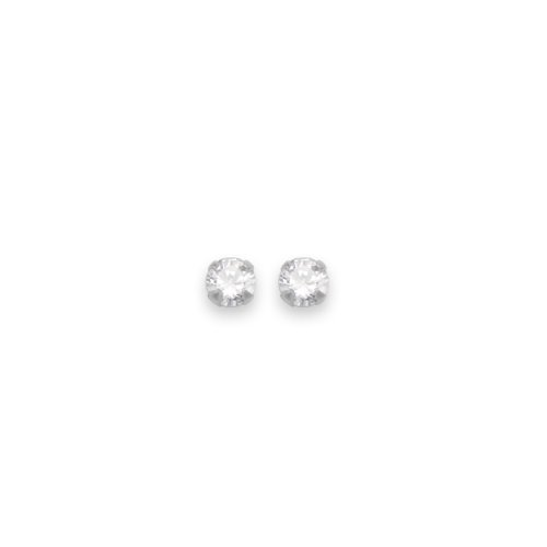 Sterling Silver Tiny 2mm Clear Cubic Zirconia round Stud Earrings - SIZE: 2mm - very small & discreet.