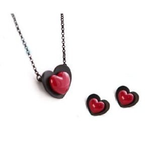 Red Heart Pendant Necklace and stud earrings Set
