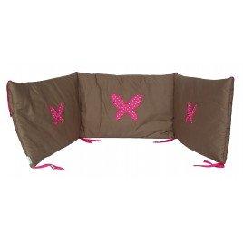 tour de lit b b taupe et rose fuschia papillon 100 coton 180x40 cm naissance la cabane. Black Bedroom Furniture Sets. Home Design Ideas