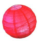 1 x 8 20cm Red Round Rice Paper Hanging Lampshade