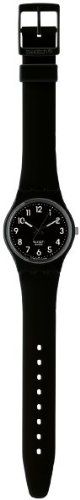 swatch Women's GB247 Quartz Black Dial Luminous Plastic Watch