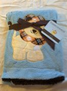 "Embroidered ""Lion Blue"" Soft Plush Reversible Blanket"