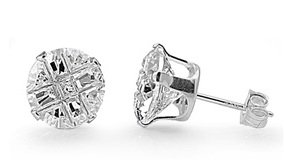 14K White Gold GB Silver Round Invisible Cut Simulated Diamond 2.00ct Stud Earrings