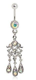 Vintage Design Aurora Borealis orientale pendente ombelico anello.