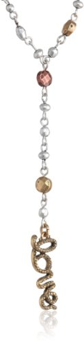 """Lucky Brand Two-Tone Metal """"Love"""" Rosary Necklace, 30"""""""