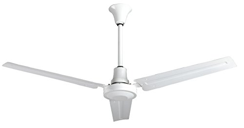 56 in Industrial Ceiling Fan, Forward/reverse, 18 Indownrod, 120v, White