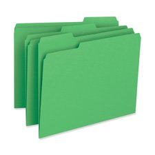 File Folder,11pt,1/3 Cut Assorted Tabs,Letter,100/BX,GN, Sold as 1 Box, 100 Each per Box