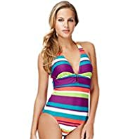 Halterneck Striped Swimsuit