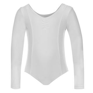 LA Gear Dance Long Sleeved Leotard Infant Girls White 5-6 Yrs