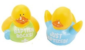 Set of 2 Boy Just Baptized Baptism Rocks Mini Rubber Duckies Ducks Set