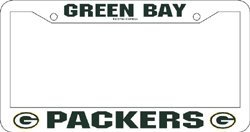 Green Bay Packers White Plastic License Plate Frame from Rico
