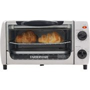 This toaster oven, with a stainless steel front and black housing, will accommodate a nine-inch pizza or four slices of bread. I