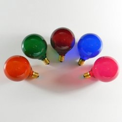 Replacement Globe Light Bulbs, G50 7W/130V, E12 Base, Assorted Colors, Satin, 5 Pack