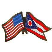 Metal Lapel Pin - USA and State Flags - Crossed Flags - USA and Ohio