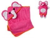 Baby Shocking Pink Elephant Hooded Towel and Mitt/ Bath Puppet Set - 1