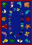 "Joy Carpets Kid Essentials Early Childhood Hebrew Alphabet ABC Animals Rug, Blue, 10'9"" x 13'2"""