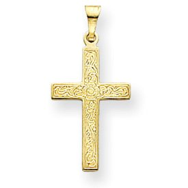 14k Yellow Gold Laser Designed Cross Pendant