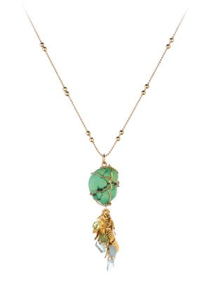 24K Yellow Gold Plated Chain from 'Green' Collection Designed by Amaro Jewelry Studio with Central Stone and Dangle Leaves, Garnished with Aventurine, Green Moonstone, Jade and Swarovski Crystals