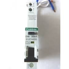 CRABTREE 40 AMP TYPE C 6 KA 30 mA RCBO RCD MCB 230V STARBREAKER 61/C14030 BS EN 61009