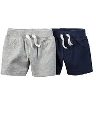 Carter's Baby Boys 2 Pack Soft Cotton Shorts (6 months) Navy/grey