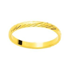 So Chic Jewels - 9k Yellow Gold 2 mm Fantasy Pattern Wedding Band Ring