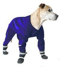 Muttluks DJ12N 4-Legged Dog Jog Rain Suit - Size 12, Navy 4 legged