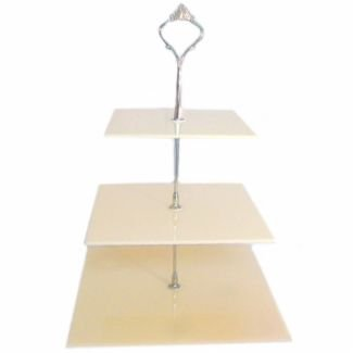 Three Tier Cream Acrylic Square Cake Stand clear acrylic pedestal quality lucite sculpture stand square plexiglass console tables one lux