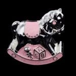 Christening Gift Silver Plated Pink Enamelled Rocking Horse Money Box