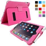 Snugg iPad Mini 3 Case - Smart Cover with Flip Stand & Lifetime Guarantee (Hot Pink Leather) for Apple iPad Mini 3 (2014)