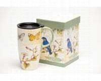 Cypress Latte Travel Mug, Blue Bird & Butterflies