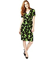 M&S Collection Leaf Print Fit & Flare Wrap Dress