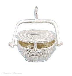 Sterling Silver 3D Nantucket Picnic Basket Openable Locket Pendant