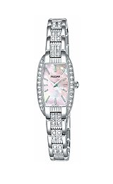 buy Pulsar Women'S Peg987 Crystal Accented Dress Silver-Tone Stainless Steel Watch